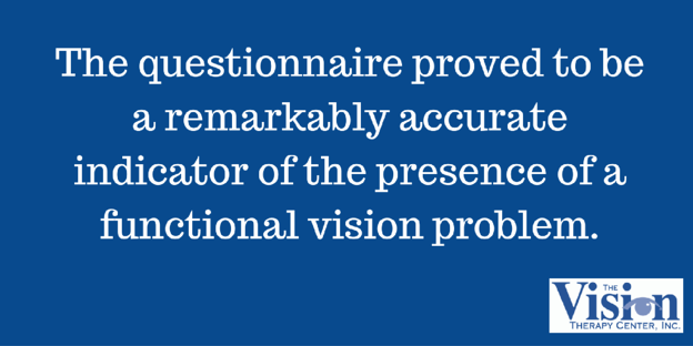 Indicator of a functional vision problem