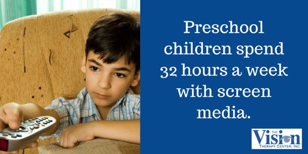 Preschool children spend 32 hours a week with screen media.
