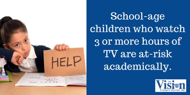 School-age children who watch 3 or more hours of TV are at-risk academically.