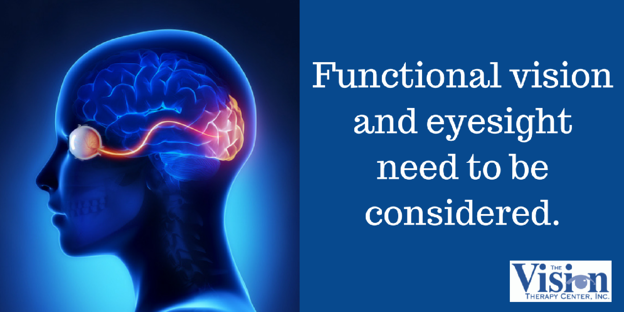 Functional vision and eyesight need to be considered.
