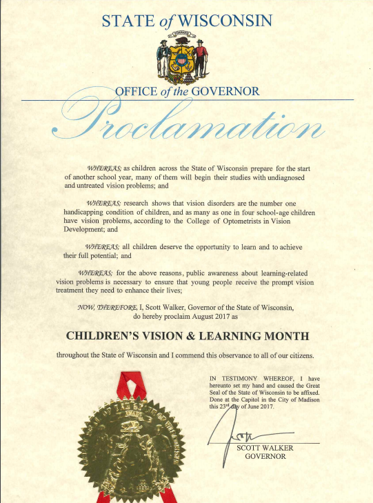 State of Wisconsin Proclamation