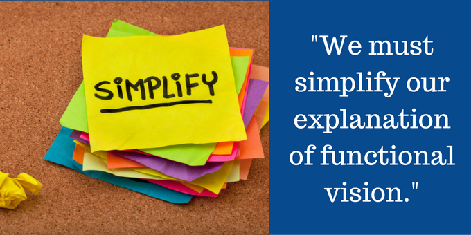 Functional vision as 3 simple visual skills.