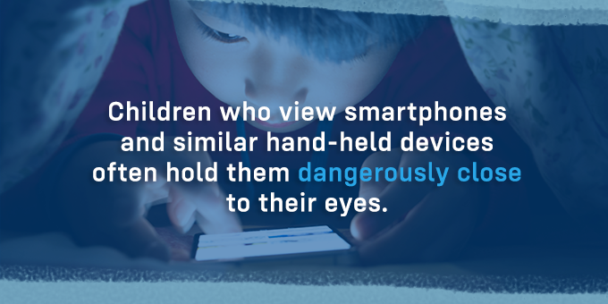 Children often hold devices too close to their eyes.
